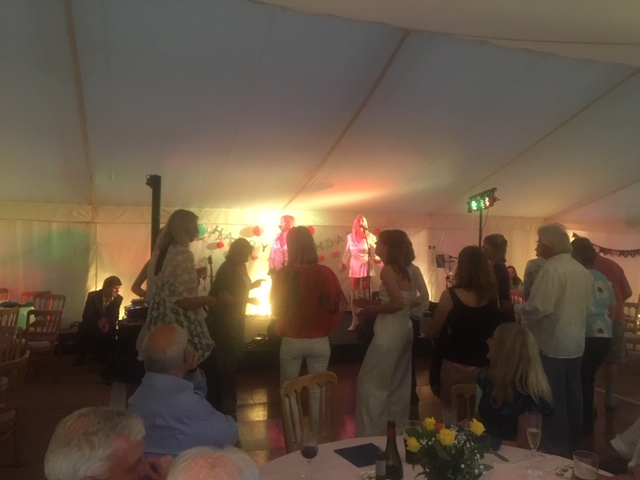 Guests enjoying the music at party in Lechlade - catering by All Events Hog Roast