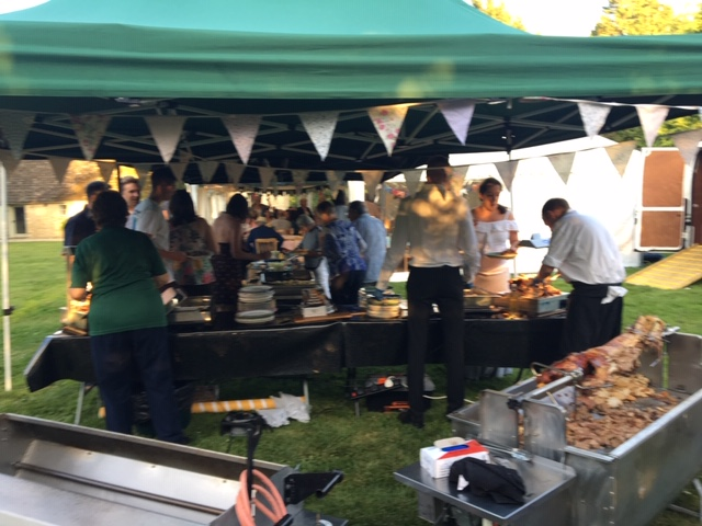 Meat being served for guests at a party in Lechlade - catering by All Events Hog Roast