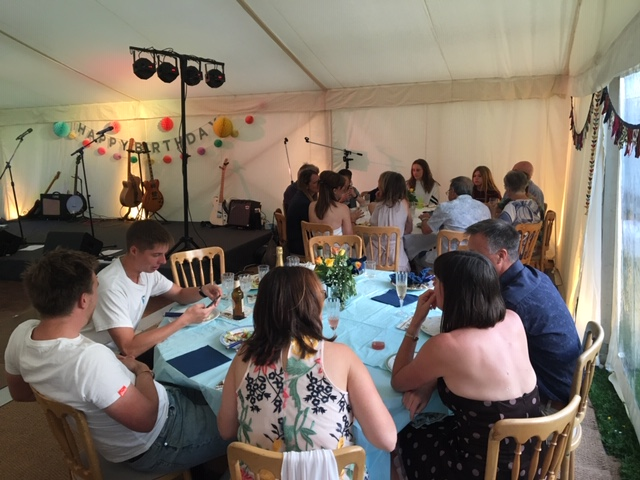 Guests in marquee at a party in Lechlade - catering by All Events Hog Roast