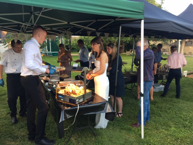 Meat being served for guests at a party in Lechlade
