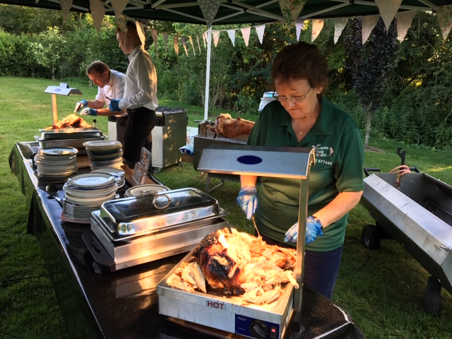 Turkey being carved at All Events Hog Roast catering for a party in Lechlade